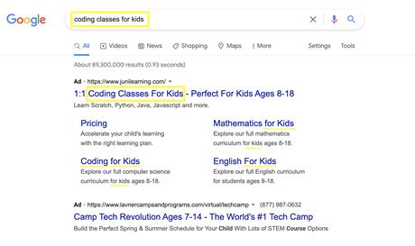 Google Ad headline and description